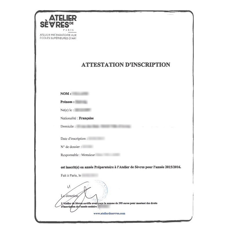 Enrolment Certificate FR French