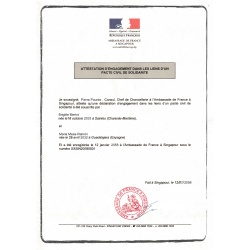 French civil partnership certificate