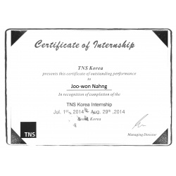 Internship certificate EN English South Korea