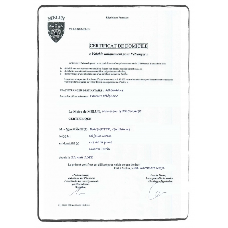 certificate of residence proof of address evidence of address FR french