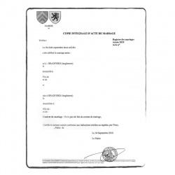 Marriage certificate - certified translation