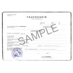 certificate of baptism DE German Germany