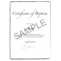 certificate of baptism EN UK United Kingdom England US United States of America