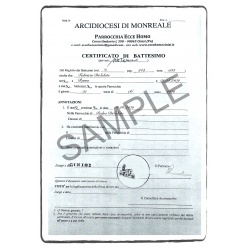 certificate of baptism IT Italian Italy