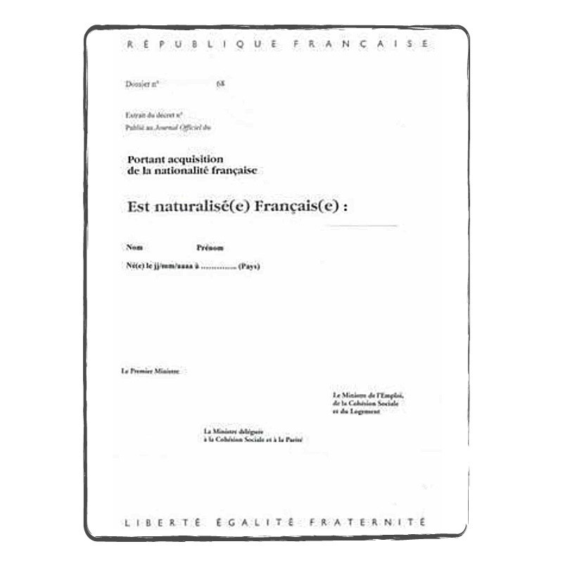 Citizenship certificate NE-FR